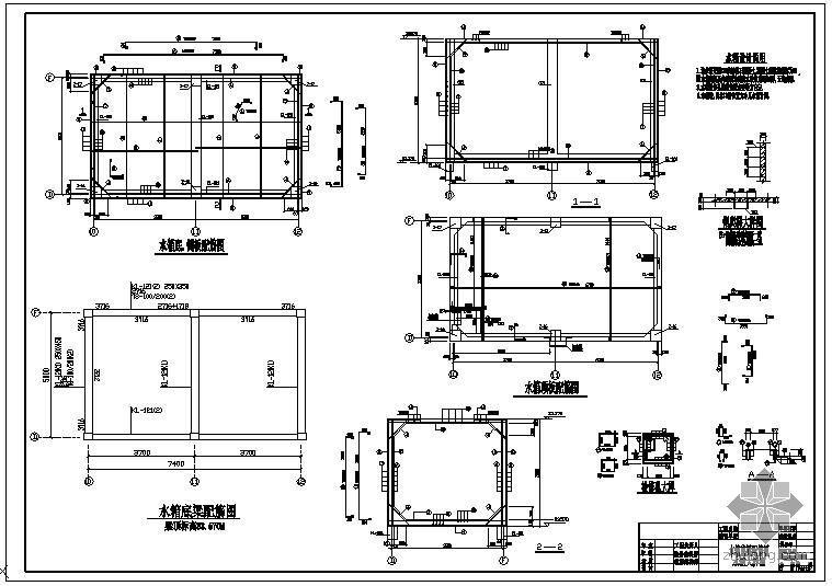 某水箱底梁配筋节点构造详图