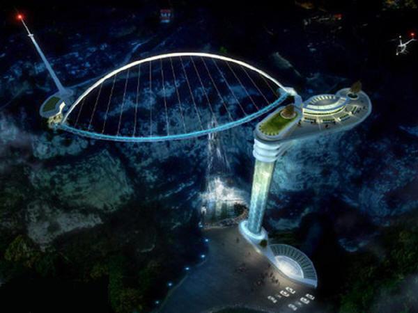 国内首个景区无背斜拉索桥玻璃桥开建