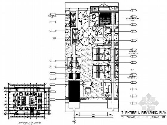 [广东]豪华商务酒店标准双床房室内装修施工图