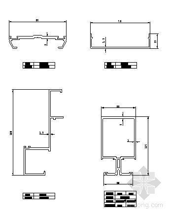 180系列(B型)半隐框玻璃幕墙部分型材图