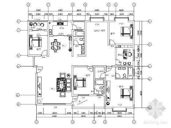 [学生作业]四室两厅家装设计图(含效果)