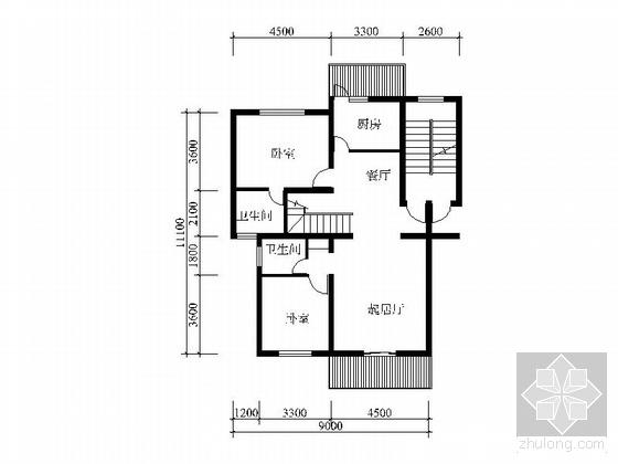 复式四室二厅户型图(244)