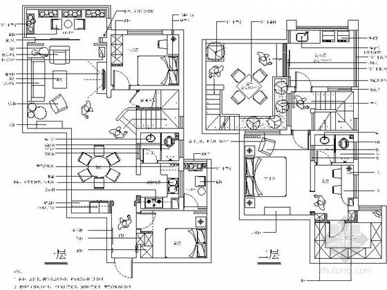 [湖北]世界硒都简约美式风格复式样板间CAD装修施工图(含效果)