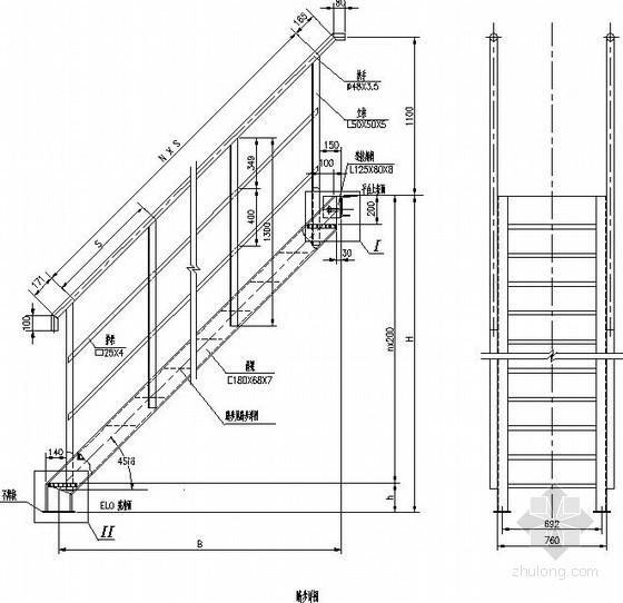 45度钢楼梯节点构造详图