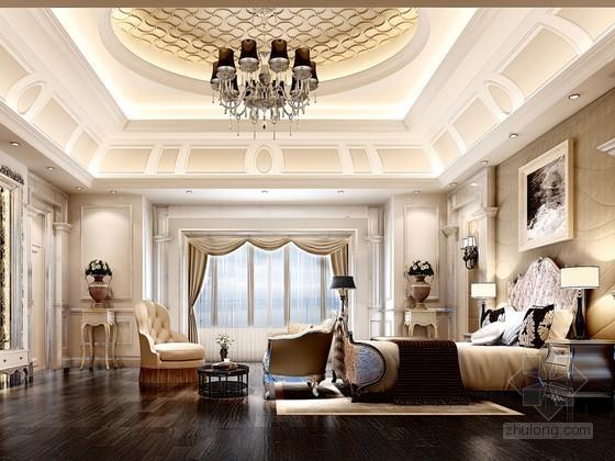大气奢华卧室3D模型下载