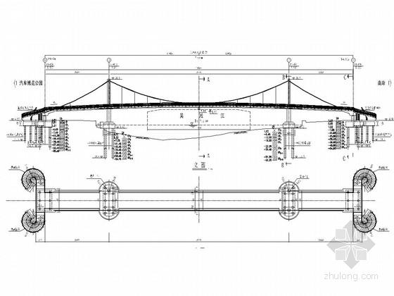 25+70+25m人行自锚式悬索桥全套施工图(48张 设计美观)
