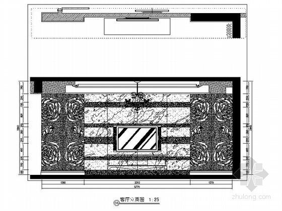 [重庆]某欧式四居室电视墙立面图