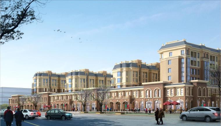 六层砖混结构新中式风格住宅建筑效果图