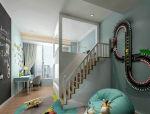 薄荷绿清新儿童双人房3D模型