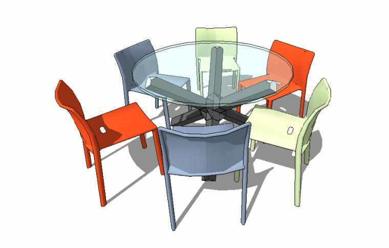 现代中式欧式餐桌椅SU模型合集