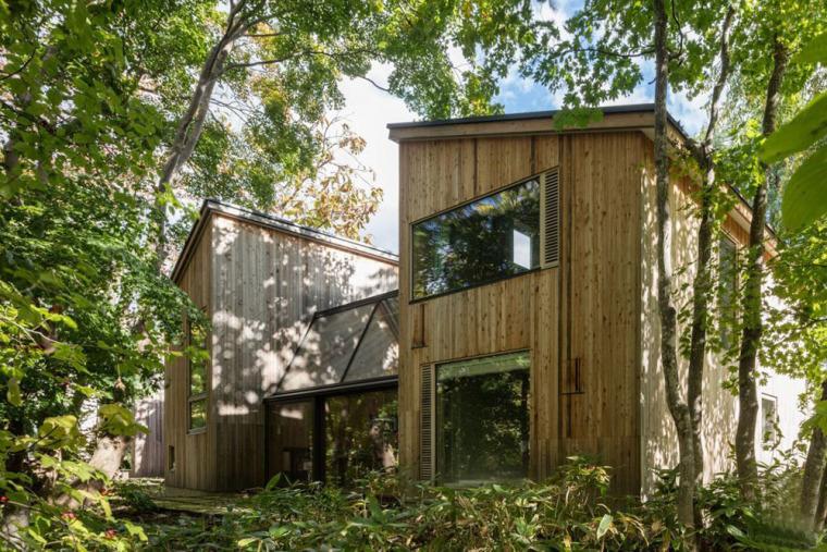 日本多层次空间木结构办公建筑外部实景图 (2)
