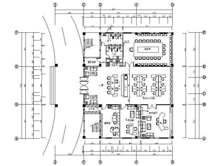 [原创]上市公司现代简约办公室室内设计施工图(含效果图)