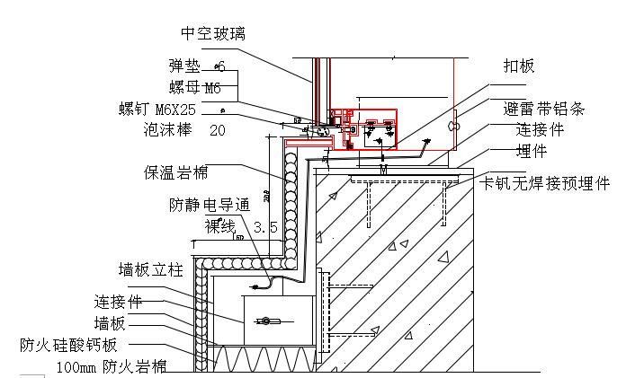 幕墙防静电防雷击节点示意图