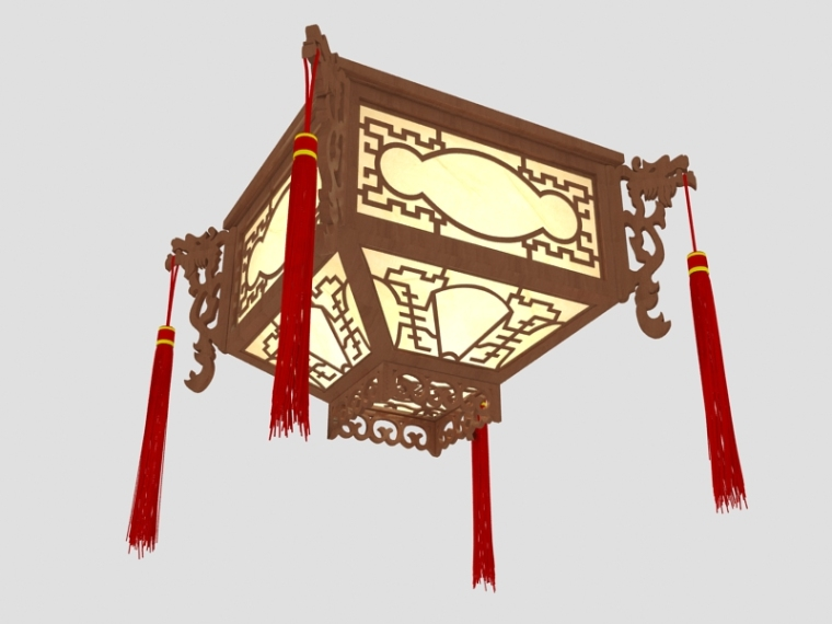 复古中式吊灯3D模型下载