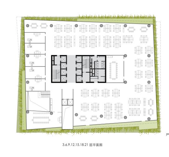 交错水平板大学研发办公大楼建筑平面图