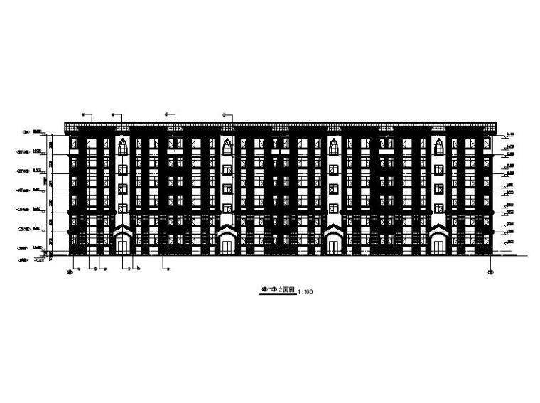 六层砖混结构新中式风格住宅建筑立面图