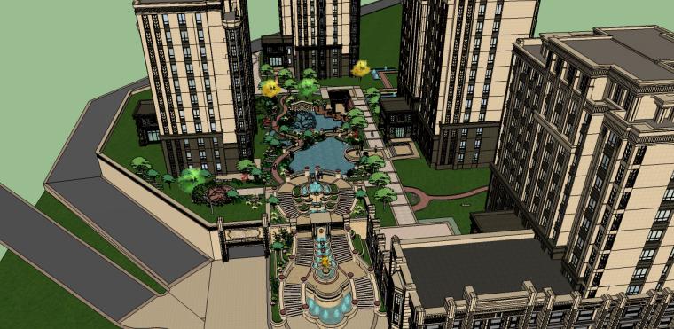 新古典居住区景观su模型