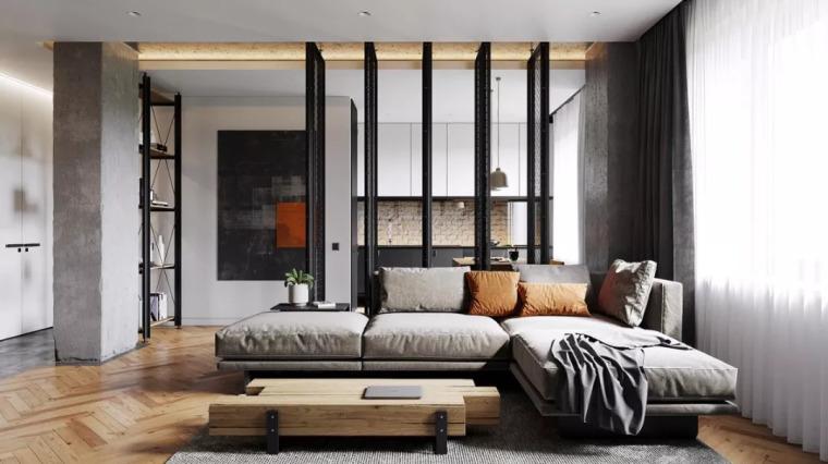 63m²工业风设计,铁艺隔断让你的家装更有气质