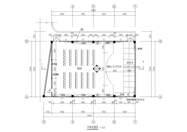 小学演奏厅装施-平面布置图