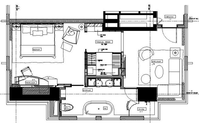 [陜西]喜來登大酒店總統套房施工圖設計