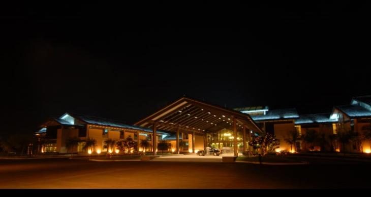 绍兴五星级园林酒店施工图(含实景)-入口晚间效果图