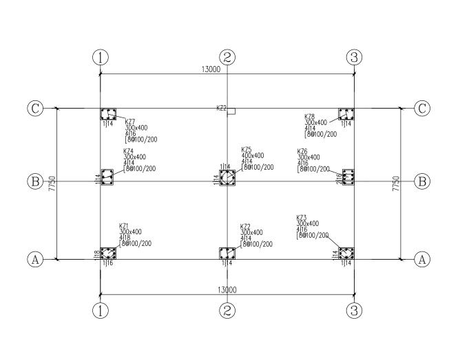 三层半框架结构农村自建别墅结构施工图(CAD、12张)