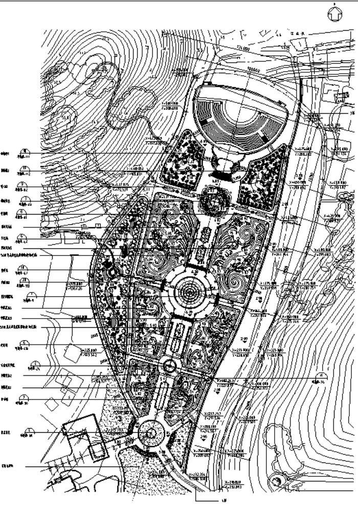 园林各类绿地景观设计CAD平面图346套(赠送CAD素材图库)-某宫廷花园景观绿化平面图