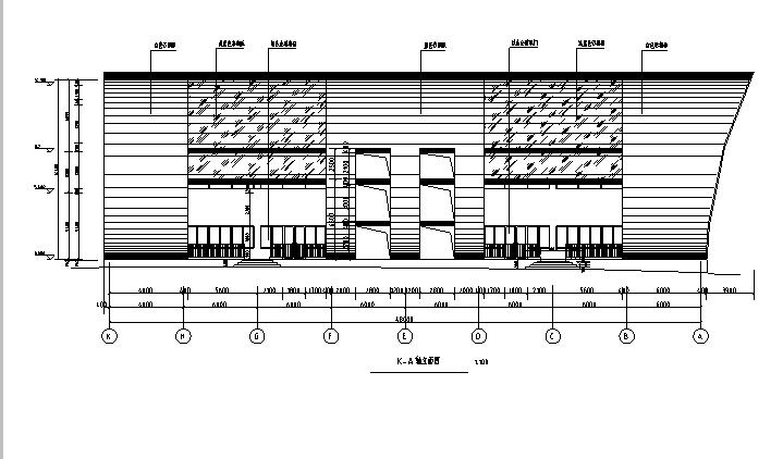 三层拱形屋面全民健身中心建筑立面图