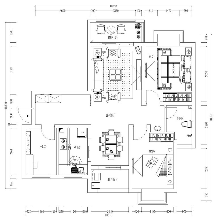 简欧风格二居室全套施工图设计(附效果图)