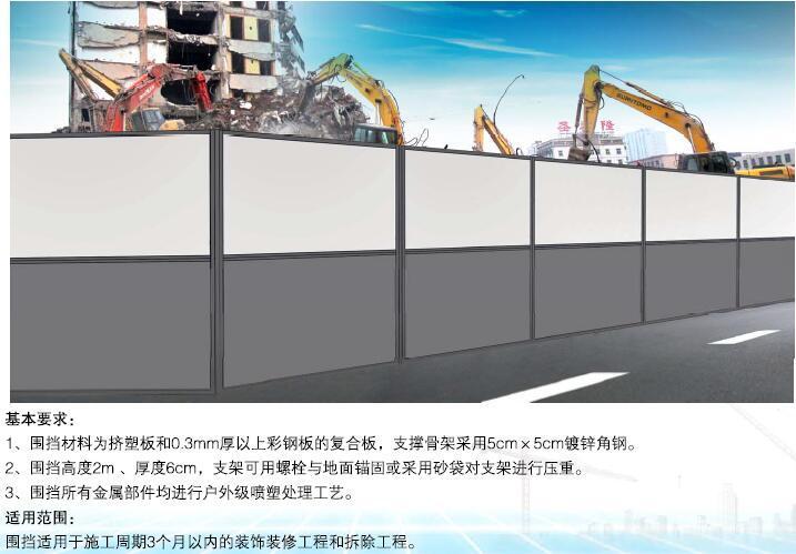 南京市建设工程施工现场围挡标准图集(房建、市政、轨道交通等)-固定式夹芯白钢板围挡