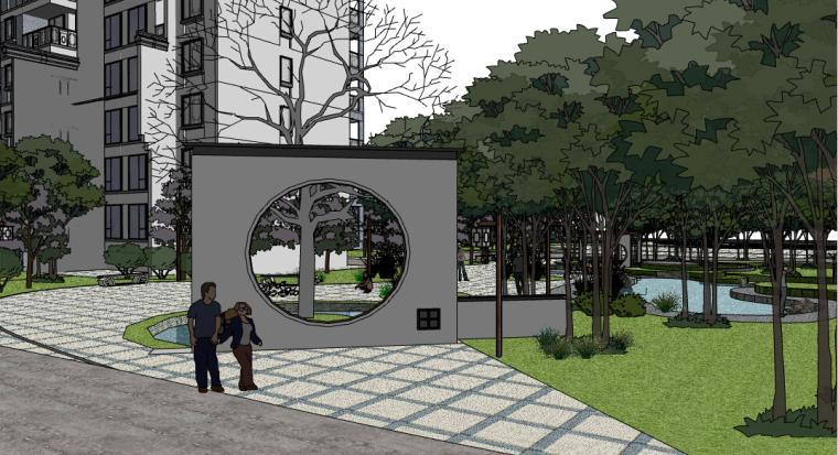 新中式小区景观SU模型——中式景墙