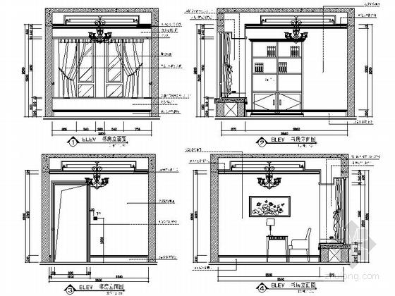 [安徽]奢派港湾小区简欧三居室样板房装修施工图书房立面图