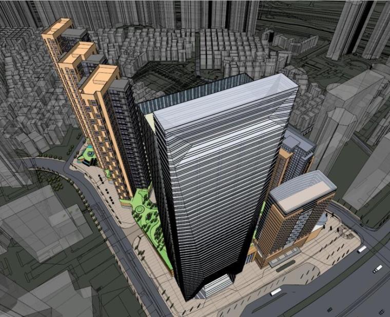 酒店商业公寓现代风格综合体建筑模型设计