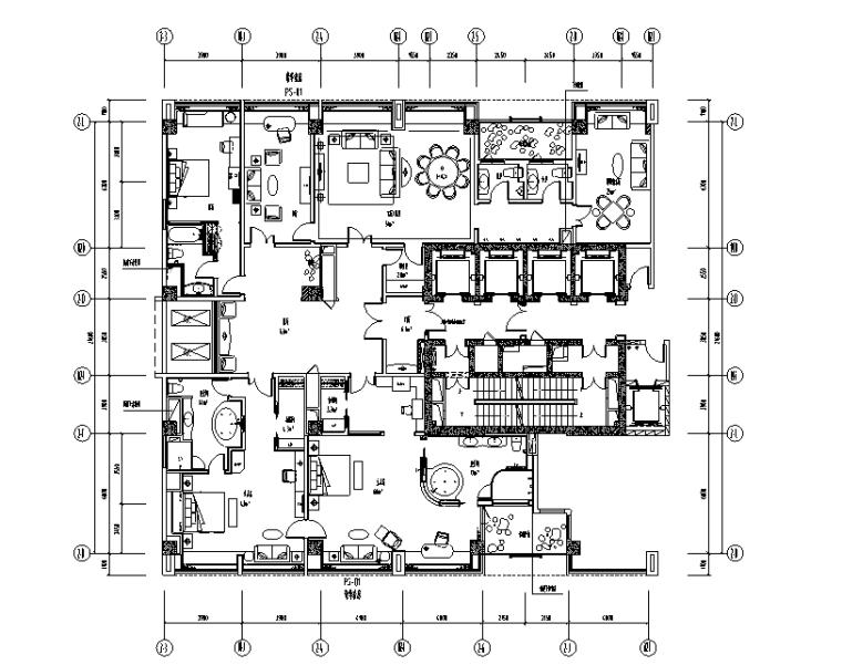 世代锦江国际酒店贵宾楼设计施工图(附效果图)-豪华套房平面布置图