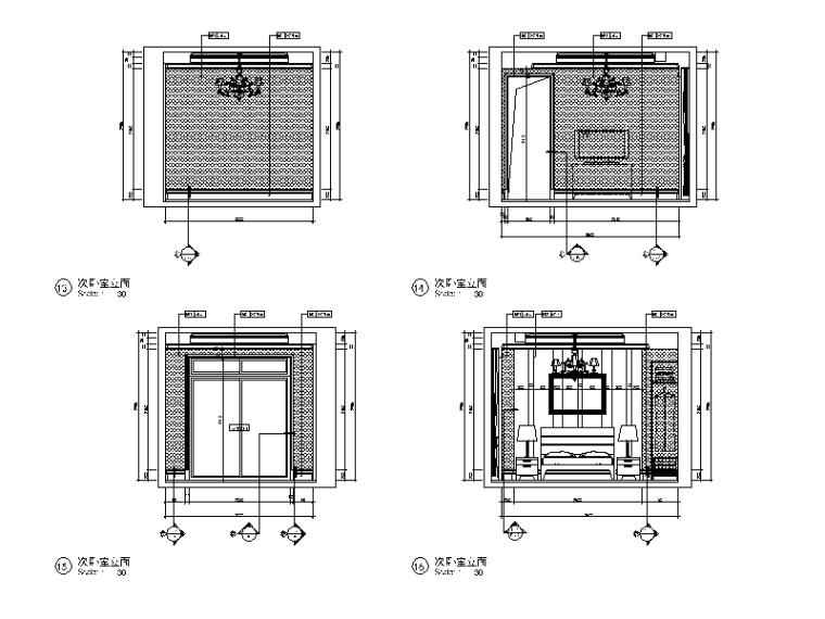 全套欧式风格样板房设计CAD施工图(含效果图)_4