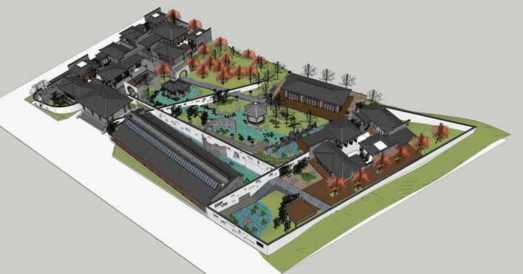 中式风格院落住宅建筑群sketchup模型