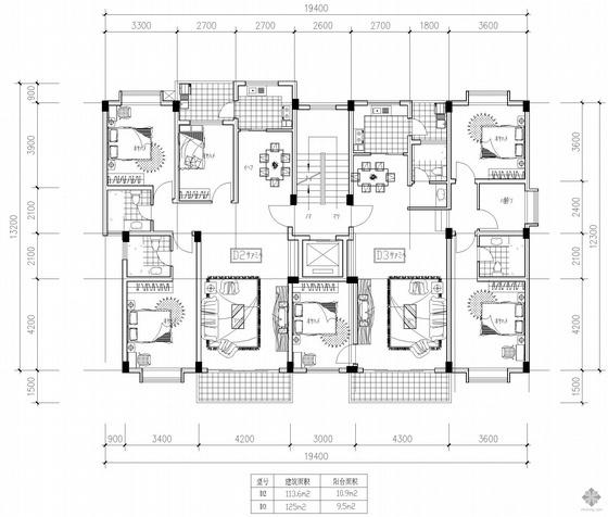 板式高层一梯两户户型图(114/125)