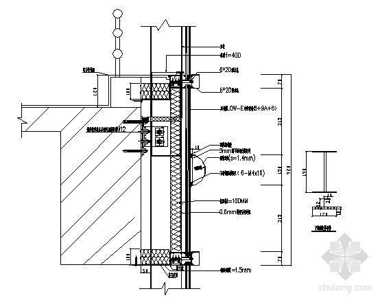 塔楼左右侧立面标准层立柱安装纵剖节点