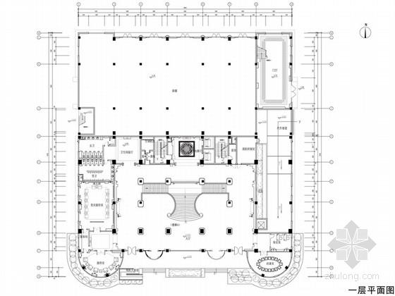 [苏州]奢华欧式风格商务会所一层大堂接待区室内设计施工图(含效果)