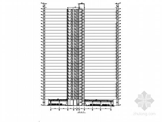 [安徽]30层现代风格住宅建筑施工图(棚户区改造)-30层现代风格住宅建筑剖面图