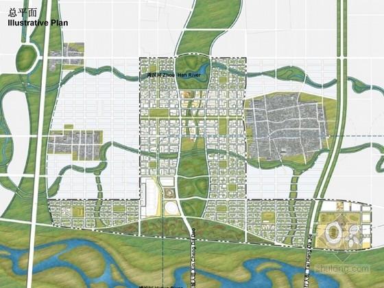 现代风格城市新区概念性规划总平面图