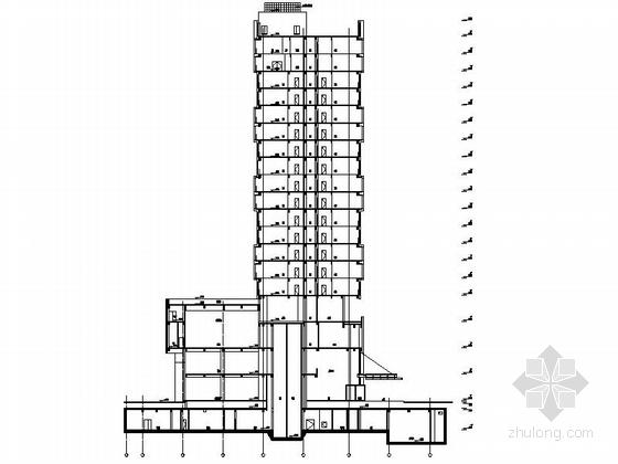 现代风格国际酒店剖面图