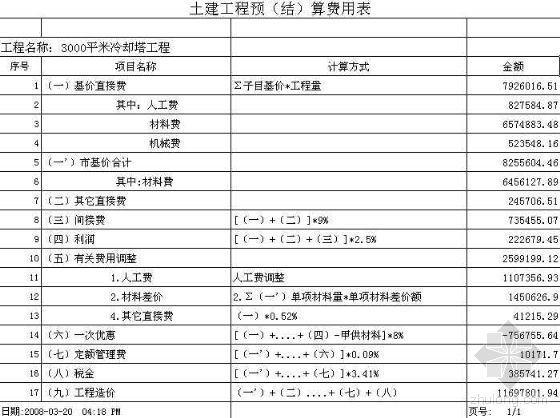 江苏2000平米冷却塔预算书