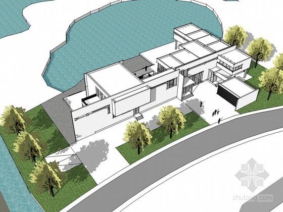 湖边现代别墅设计