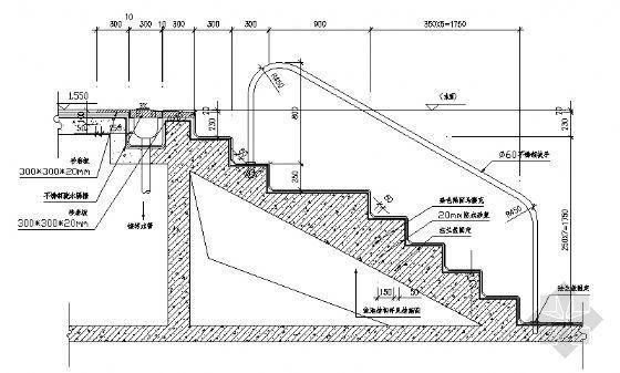 泳池台阶剖面图
