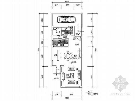 某三层独栋别墅户型图(北入口、194平方米)