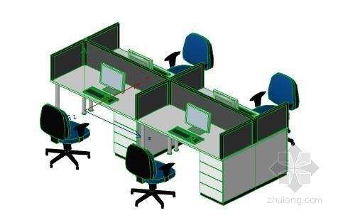 办公室布局-线型 ArchiCAD模型