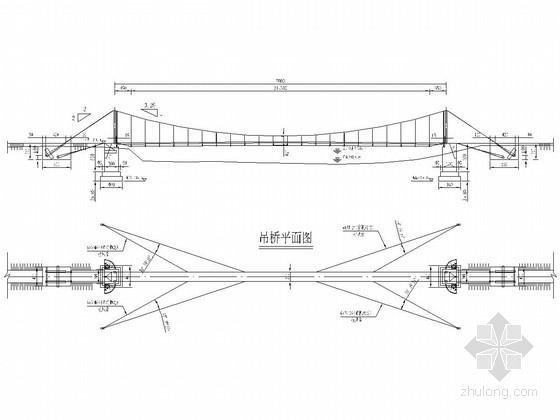 70米跨径人行悬索桥施工图