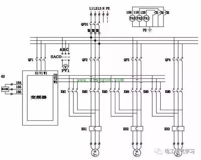 变频器一拖多二次电气原理图设计