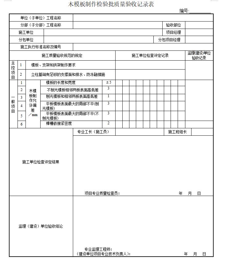 市政桥梁工程监理质量检验批全套表格(107页)-木模板制作检验批质量验收记录表